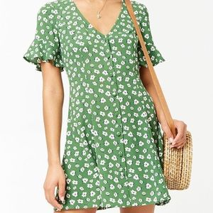 Forever 21 Green Floral Mini Dress